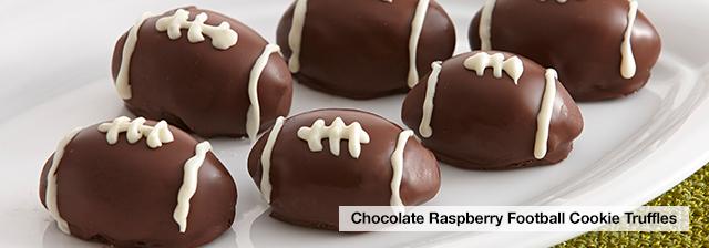 Chocolate Raspberry Football Cookie Truffles